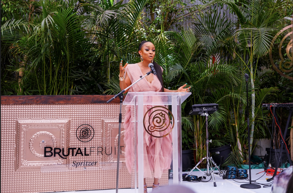Toke Makinwa speaking at Brutal Fruit Spritzer